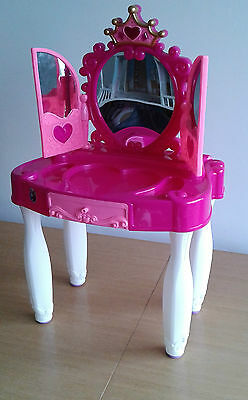 Girls Dressing Table Pink Toy Vanity Unit with mirror. 70cm tall.