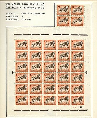 South Africa 1961 Definitive 5c Lion Control Blocks  SG192 Hinged on Card