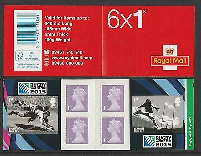 GB 2015 RUGBY WORLD CUP - CYLINDER BOOKLET -  6 X 1st Class Stamps
