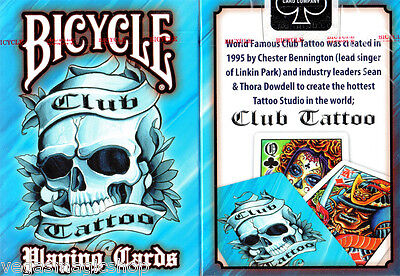 Club Tattoo Blue Deck Bicycle Playing Cards Poker Size USPCC Limited Edition New