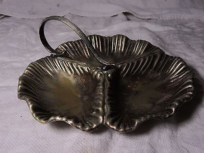 Antique Serving Tray Bowl Silver Plated ~ Triple Handkerchief Shell Design