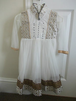 GIRLS White Gold Churidar Anarkali Suit Indian Dress SIZE 22 approx 2-3 Years