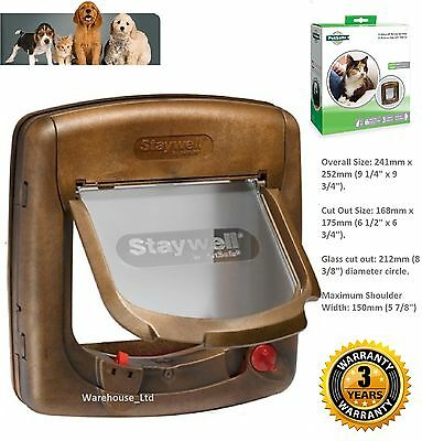 Staywell PetSafe 320 4 Way Locking Brown Cat Flap Door & Tunnel Woodgrain