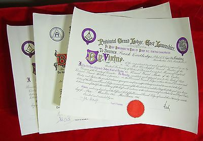 Vintage Masonic Certificates - 1954 and Two 1964