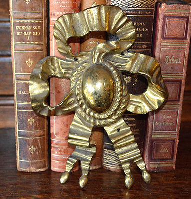 Antique French Ormolu Large Bow Picture Hook Cover Decoration