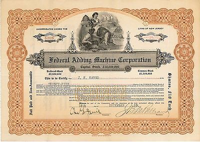 Federal Adding Machine Corporation   1919 New Jersey old stock certificate share
