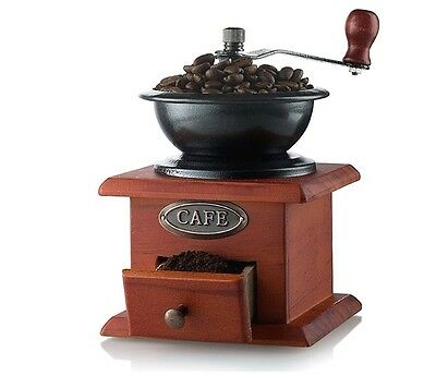 Gourmia Manual Coffee Burr Grinder Antique Hand Operated Crank Brewing Mill New