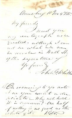 Staunch Abolitionist John Greenleaf Whittier: 2 Signatures, Humorous Comments
