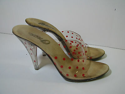 ONEX Vtg 80's CLEAR W/RED POLKA-DOTS PLASTIC High Heel Shoes LUCITE HEELS sz 7