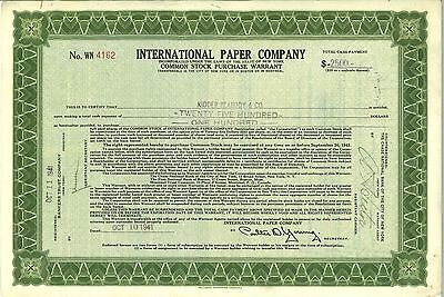 International Paper Company   1941 New York old stock certificate share