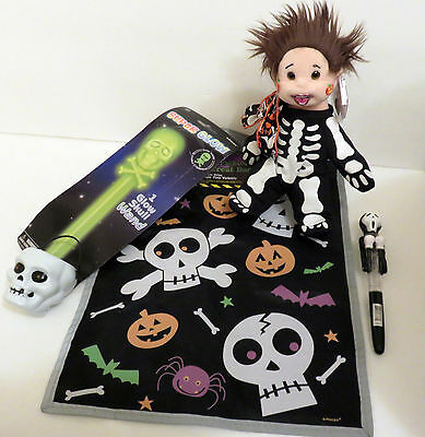 Halloween Ty Beanie Kid Handpainted in Skeleton Costume +Glow Skull Wand Bag Pen