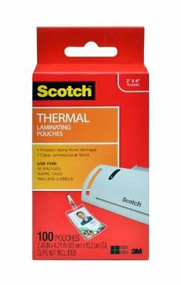Scotch Thermal Laminating Pouches, 2.4 x 4.2-Inches, ID Badge without Clip