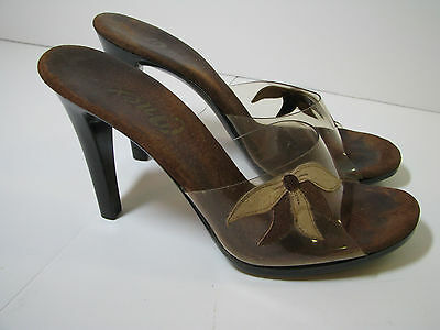 ONEX Vtg 80's CLEAR & BROWN PLASTIC High Heel Shoes LEATHER FLOWER CUT-OUT sz 7