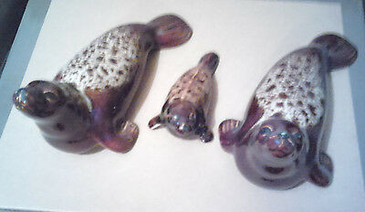 Poole Pottery Seals -   2 Adults, 1 Pup - Brown