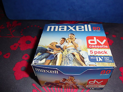 Lot De 5 Cassettes Mini Dv Maxell 80