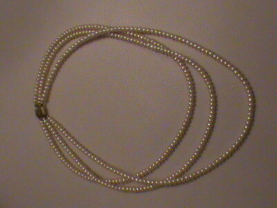 Vintage Beautiful 3 Row Pearl Necklace 393 pearls With Clasp