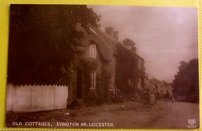 RP Postcard 1929 OLD COTTAGES EVINGTON Nr LEICESTER LEICESTERSHIRE