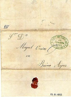 URUGUAY 1855 to Buenos Aires unstamped folded letter