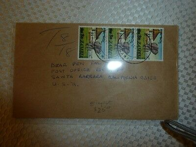 Zambia 8N Elephant x 3 on cover to USA  (45beb)