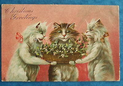 COMIC CAT R TUCK ARTIST Postcard POSTED 1906 3 CATS WITH BASKET OF MISTLETOE