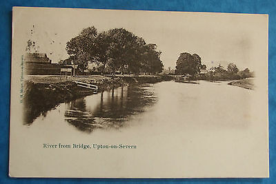 Postcard POSTED 1906 RIVER FROM BRIDGE UPTON-ON-SEVERN WORCESTERSHIRE