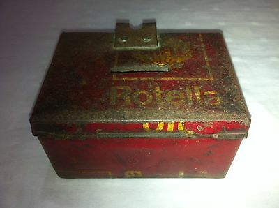 SHELL ROTELLO OIL COIN MONEY CHANGE TIN CAN VINTAGE GAS STATION PUMP BANK 1930s
