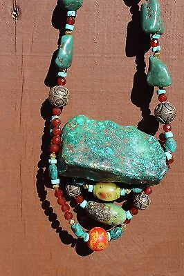 Tibet Necklace Large Green Turquoise Nugget & Other Beads
