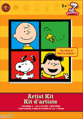 "Peanuts Artist Framed 6"" Canvas Paint Kit Charlie Brown Snoopy Woodstock Lucy"