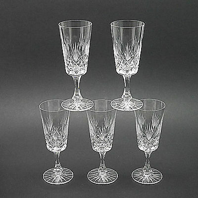 """Five Cut & Etched Crystal Champagne Flutes/Glasses - 14.5cm/5.7"""" High"""