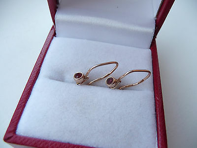 Vintage Soviet  Russian 583,14k Solid Rose Gold  Earrings  With Ruby