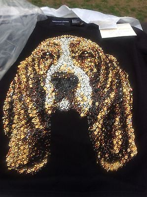Awesome New In Bag Michael Simon Silk Basset Hound Sweater Small Beads Galore!