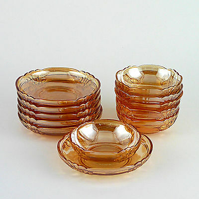 Twelve Vintage Marigold Colour Carnival Glass Dishes & Bowls - Six of Each