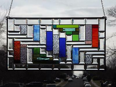 """• Explosion •Beveled Stained Glass Window Panel • Extra Large 30 ½""""-16 ½"""""""