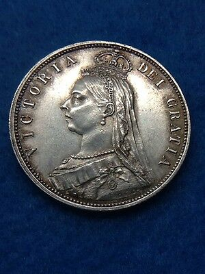 1887 Queen Victoria Sterling Silver Half Crown Coin Very Nice Condition Freepost
