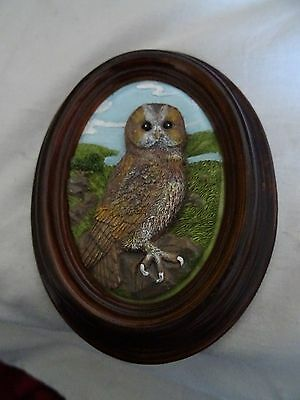 Small vintage oval high relief picture of an owl