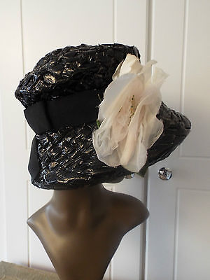 Vintage Black Lacquered Straw Effect Hat