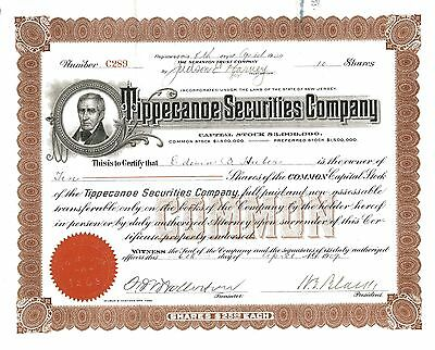Tippecanoe Securities Company > 1909 New Jersey old stock certificate share
