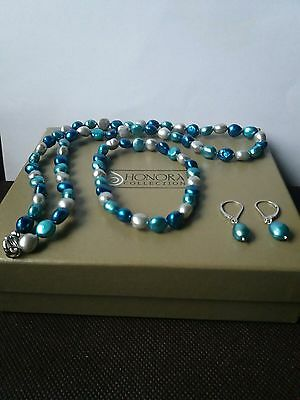 Qvc Honora Sterling Silver, Shades Of Blue And Silver, Necklace, Earrings And Br