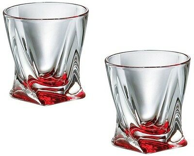 Set of 2 Quadro Crystal Glasses Tumblers 340 ml Spirits Whisky Chilli Red