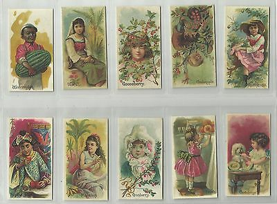 Fruits with Children, Allen & Ginter. Full set of 50. Excellent.
