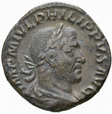 ROME PHILIPPUS the ARAB SESTERTIUS with TEMPLE RARE and EXCELLENT COIN
