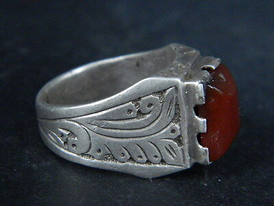 Antique Silver Ring With Stone Post Medieval 1800 AD    #STC569