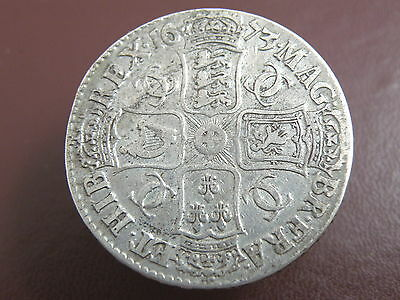 1673 KING CHARLES II SILVER CROWN COIN - V.QVINTO Edge - High Book Value