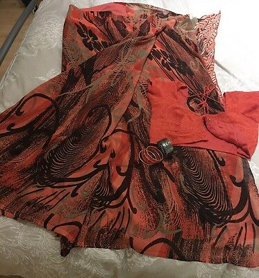 Saree Black And Orange With Matching Blouse And Bangle