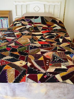 Antique Farmhouse Chic Embroidery Victorian Crazy Patchwork Quilt