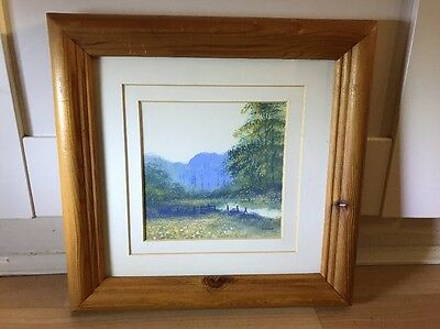 Charming Signed Vintage Watercolour Painting Of Landscape In Wood Frame