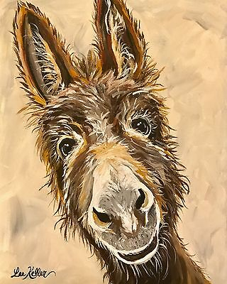 """Donkey Art Print from original canvas Donkey painting 8x10"""" signed by artist"""