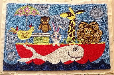 Aunt Lydias Completed Hooked Rug Wallhanging Animals On Boat Completed 3' Wide
