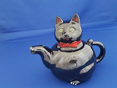 Vintage Black Cat Teapot Redware Green Eyes Red Collar 3 Cups Retro Shafford?