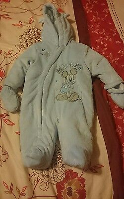 baby boys disney 0-3 months mickey mouse snowsuit& mitts pramsuit clothes coats